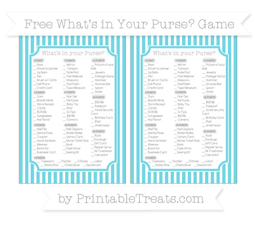 Free Pastel Teal Thin Striped Pattern What's in Your Purse Baby Shower Game