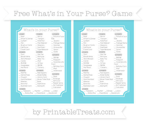 Free Pastel Teal What's in Your Purse Baby Shower Game