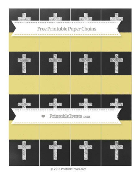 Free Pastel Yellow Chalk Style Cross Paper Chains