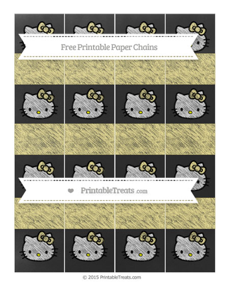 Free Pastel Yellow Chalk Style Hello Kitty Paper Chains