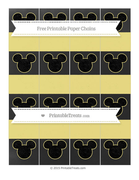 Free Pastel Yellow Chalk Style Mickey Mouse Paper Chains