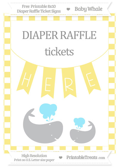 Free Pastel Yellow Checker Pattern Baby Whale 8x10 Diaper Raffle Ticket Sign