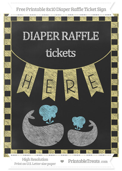 Free Pastel Yellow Checker Pattern Chalk Style Baby Whale 8x10 Diaper Raffle Ticket Sign