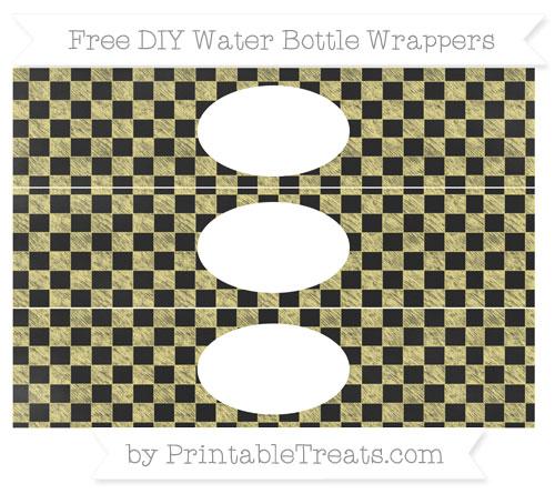 Free Pastel Yellow Checker Pattern Chalk Style DIY Water Bottle Wrappers
