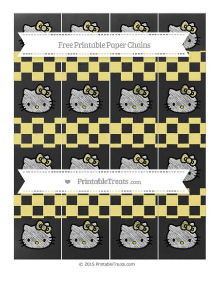 Free Pastel Yellow Checker Pattern Chalk Style Hello Kitty Paper Chains