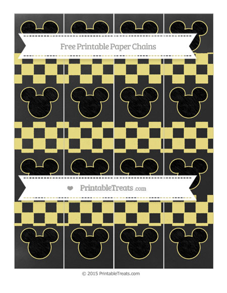 Free Pastel Yellow Checker Pattern Chalk Style Mickey Mouse Paper Chains