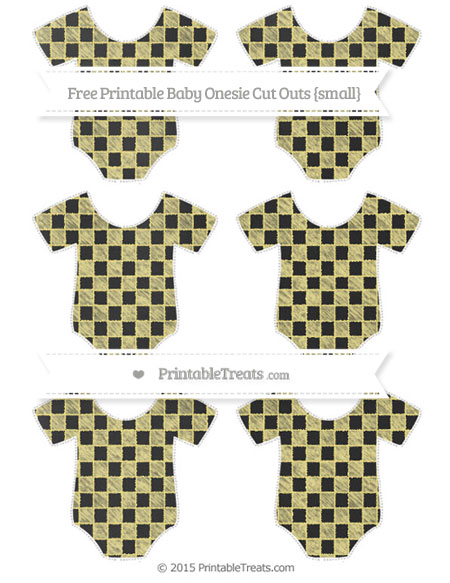 Free Pastel Yellow Checker Pattern Chalk Style Small Baby Onesie Cut Outs
