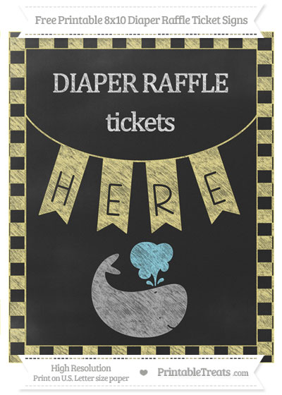 Free Pastel Yellow Checker Pattern Chalk Style Whale 8x10 Diaper Raffle Ticket Sign