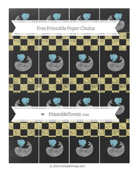 Free Pastel Yellow Checker Pattern Chalk Style Whale Paper Chains