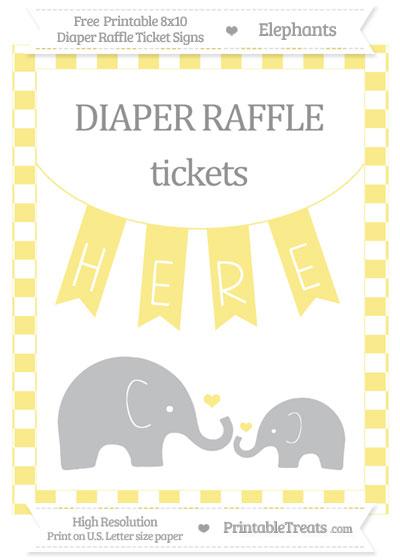 Free Pastel Yellow Checker Pattern Elephant 8x10 Diaper Raffle Ticket Sign