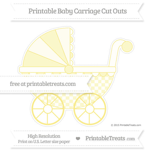 Free Pastel Yellow Checker Pattern Extra Large Baby Carriage Cut Outs