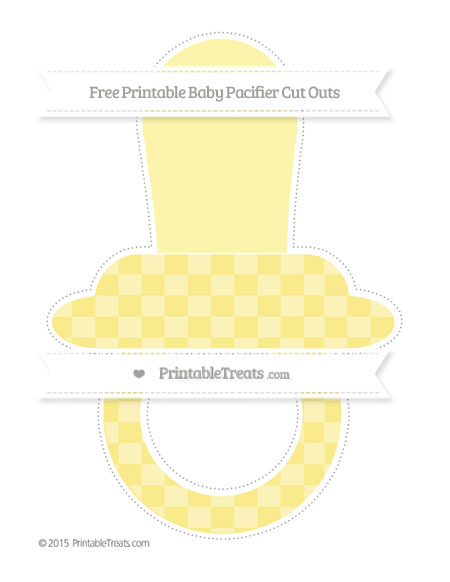 Free Pastel Yellow Checker Pattern Extra Large Baby Pacifier Cut Outs