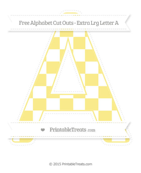 Free Pastel Yellow Checker Pattern Extra Large Capital Letter A Cut Outs