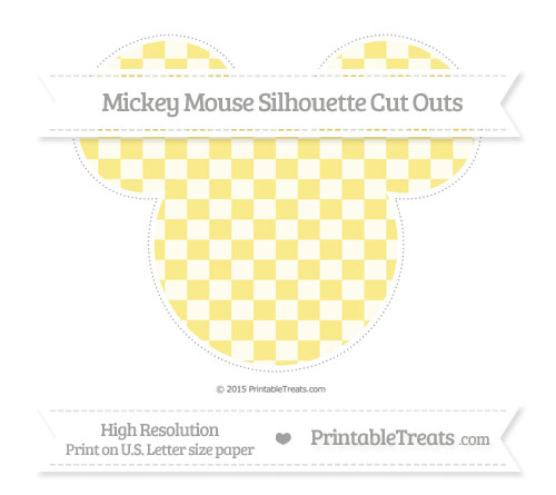 Free Pastel Yellow Checker Pattern Extra Large Mickey Mouse Silhouette Cut Outs