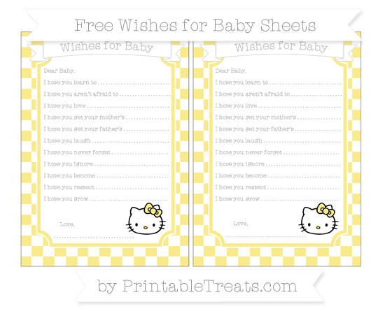 Free Pastel Yellow Checker Pattern Hello Kitty Wishes for Baby Sheets