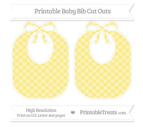 Free Pastel Yellow Checker Pattern Large Baby Bib Cut Outs