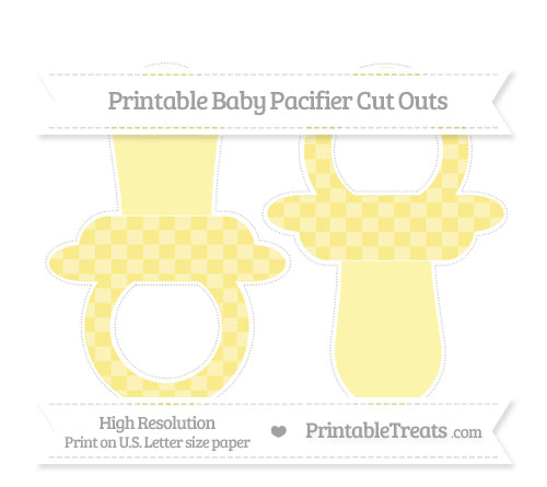 Free Pastel Yellow Checker Pattern Large Baby Pacifier Cut Outs