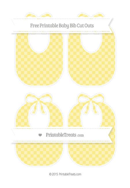 Free Pastel Yellow Checker Pattern Medium Baby Bib Cut Outs