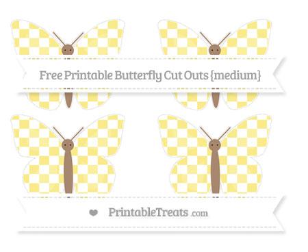 Free Pastel Yellow Checker Pattern Medium Butterfly Cut Outs