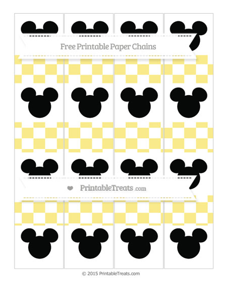 Free Pastel Yellow Checker Pattern Mickey Mouse Paper Chains