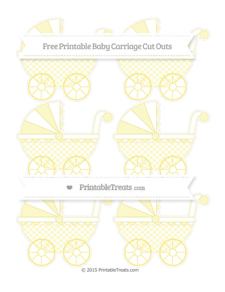 Free Pastel Yellow Checker Pattern Small Baby Carriage Cut Outs
