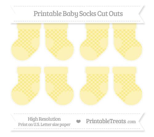 Free Pastel Yellow Checker Pattern Small Baby Socks Cut Outs