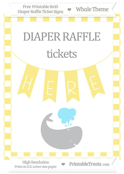 Free Pastel Yellow Checker Pattern Whale 8x10 Diaper Raffle Ticket Sign