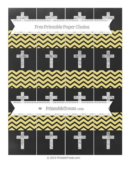Free Pastel Yellow Chevron Chalk Style Cross Paper Chains