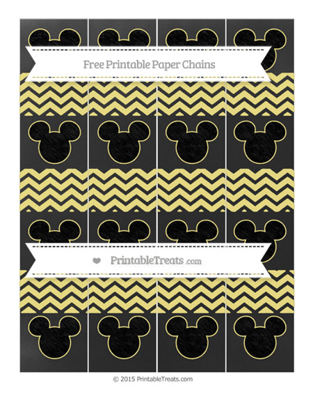 Free Pastel Yellow Chevron Chalk Style Mickey Mouse Paper Chains