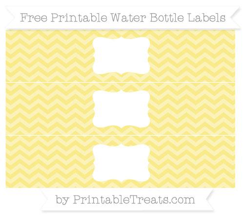 Free Pastel Yellow Chevron Water Bottle Labels