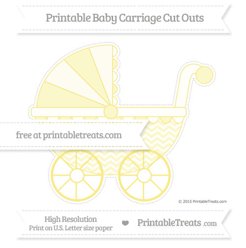 Free Pastel Yellow Chevron Extra Large Baby Carriage Cut Outs