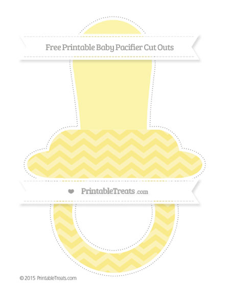 Free Pastel Yellow Chevron Extra Large Baby Pacifier Cut Outs