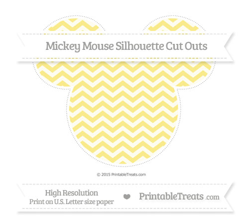 Free Pastel Yellow Chevron Extra Large Mickey Mouse Silhouette Cut Outs