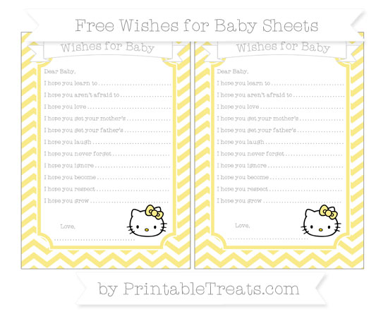 Free Pastel Yellow Chevron Hello Kitty Wishes for Baby Sheets