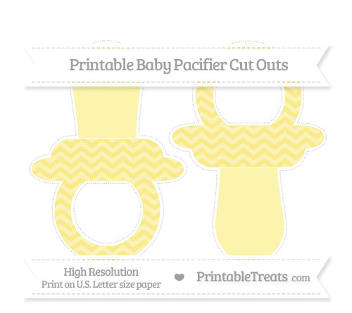 Free Pastel Yellow Chevron Large Baby Pacifier Cut Outs
