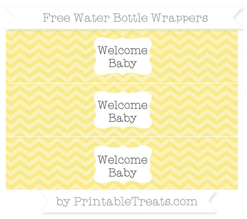 Free Pastel Yellow Chevron Welcome Baby Water Bottle Wrappers