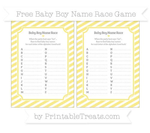 Free Pastel Yellow Diagonal Striped Baby Boy Name Race Game