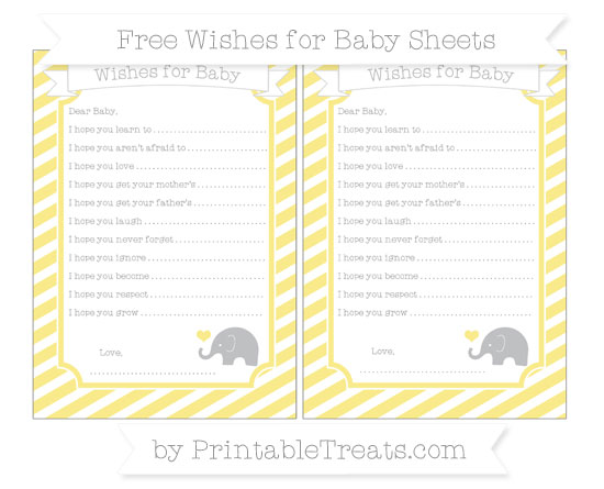 Free Pastel Yellow Diagonal Striped Baby Elephant Wishes for Baby Sheets