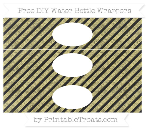 Free Pastel Yellow Diagonal Striped Chalk Style DIY Water Bottle Wrappers