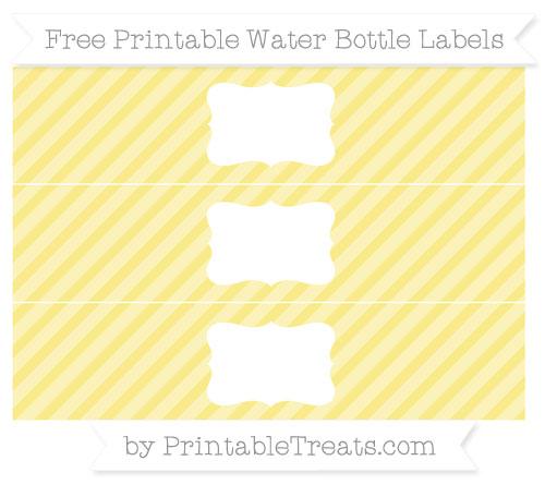 Free Pastel Yellow Diagonal Striped Water Bottle Labels
