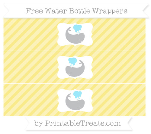 Free Pastel Yellow Diagonal Striped Whale Water Bottle Wrappers