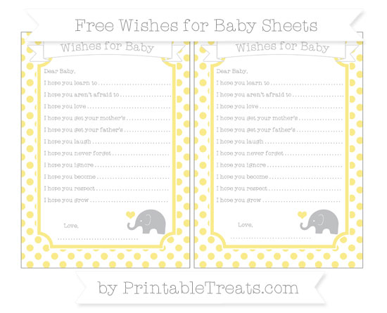 Free Pastel Yellow Dotted Pattern Baby Elephant Wishes for Baby Sheets