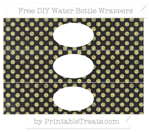 Free Pastel Yellow Dotted Pattern Chalk Style DIY Water Bottle Wrappers