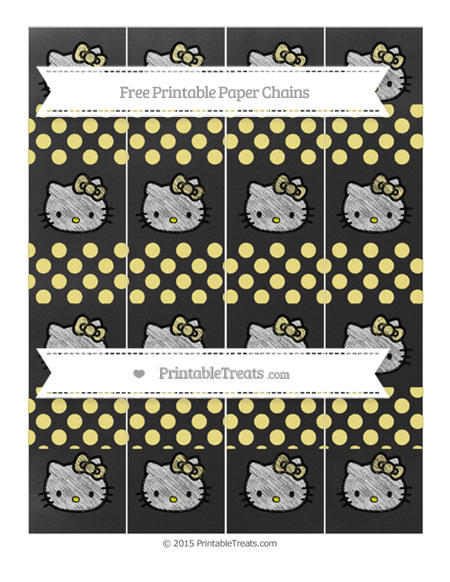 Free Pastel Yellow Dotted Pattern Chalk Style Hello Kitty Paper Chains