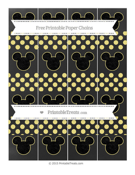 Free Pastel Yellow Dotted Pattern Chalk Style Mickey Mouse Paper Chains