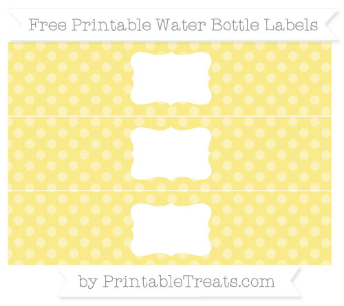 Free Pastel Yellow Dotted Pattern Water Bottle Labels