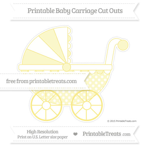 Free Pastel Yellow Dotted Pattern Extra Large Baby Carriage Cut Outs