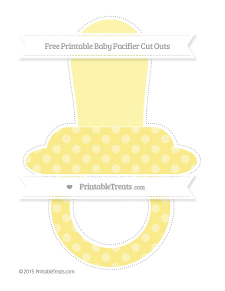 Free Pastel Yellow Dotted Pattern Extra Large Baby Pacifier Cut Outs