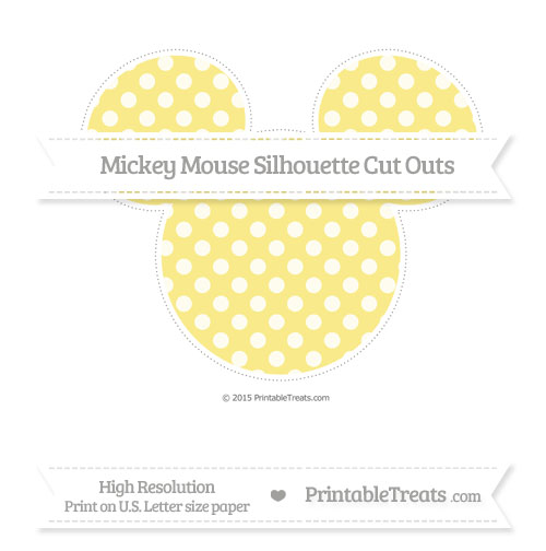 Free Pastel Yellow Dotted Pattern Extra Large Mickey Mouse Silhouette Cut Outs
