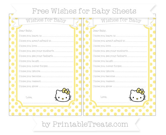 Free Pastel Yellow Dotted Pattern Hello Kitty Wishes for Baby Sheets